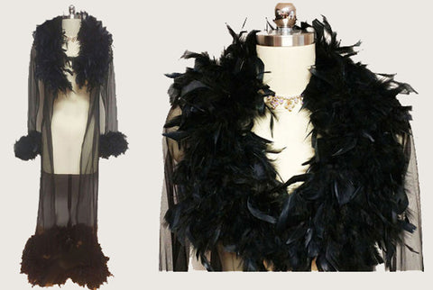 VINTAGE ELEGANT MOMENTS SHEER BLACK PEIGNOIR ADORNED WITH FABULOUS FEATHERS