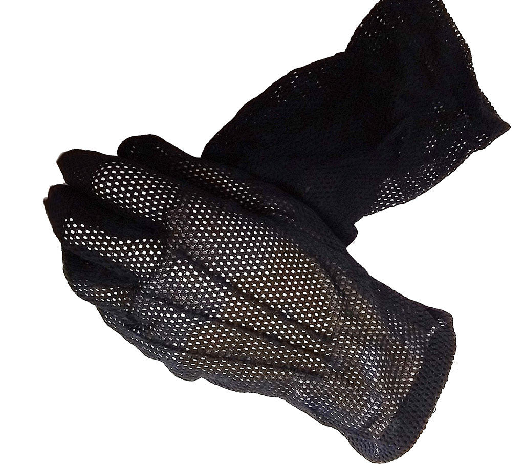 VINTAGE '50S ANTEBELLUM LOOK BLACK MESH COCKTAIL GLOVES - JUST ADORABLE!