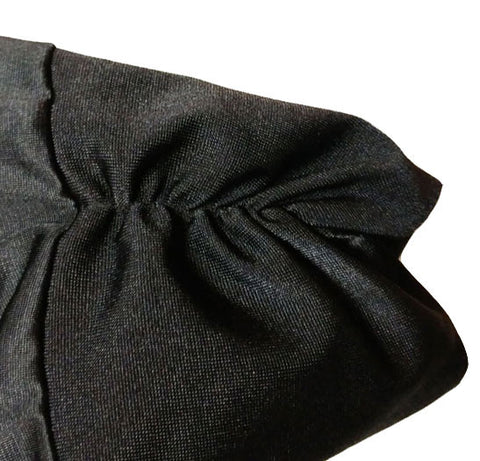 SOPHISTICATED VINTAGE BLACK WRAP PEIGNOIR WITH RUCHED SLEEVES & ATTACHED TIES