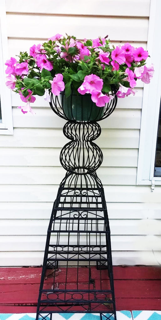 "GORGEOUS VINTAGE-LOOK FANCY VERY TALL 48"" BLACK METAL PLANTER / PLANT STAND - PERFECT FOR A PORCH, POOL AREA OR INDOOR ENTRY WAY"