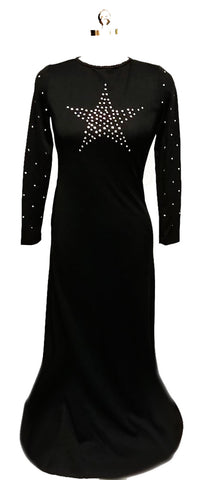 VINTAGE BLACK SPARKLING RHINESTONE STAR EVENING GOWN WITH KEYHOLE BACK