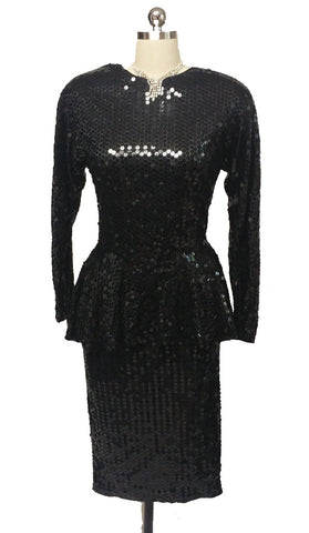 DAZZLING VINTAGE  '70s / '80s PARA SPARKLING ALL SEQUIN PEPLUM COCKTAIL DRESS
