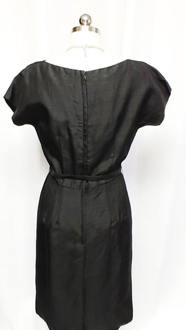 VINTAGE 1950s BLACK SILK COAT & METAL ZIPPER DRESS ENSEMBLE