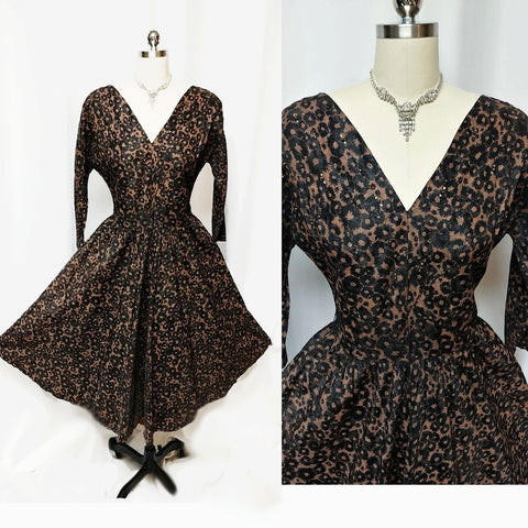 VINTAGE '50s BLACK & COPPER FLORAL DRESS SPRINKLED WITH RHINESTONES & BEADS WITH A METAL ZIPPER