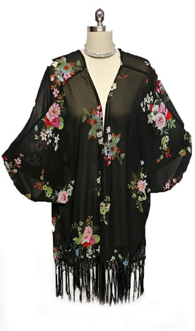 VINTAGE-LOOK BLACK & FLORAL FRINGE RUANA / JACKET WITH SILKY KNOTTED FRINGE TRIM - GORGEOUS COLORS