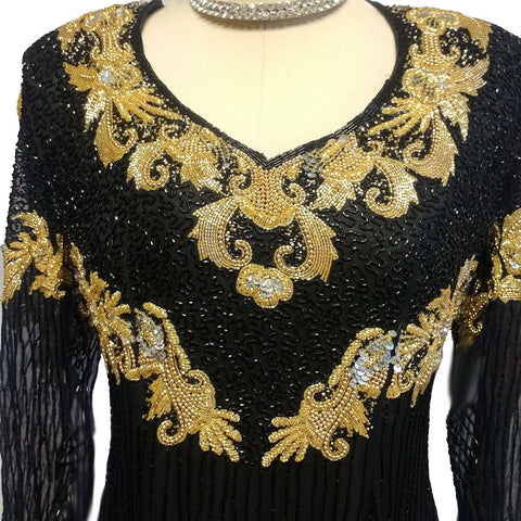 SPECTACULAR VINTAGE BLACK AND GOLD SPARKLING SEQUIN AND BEADED EVENING GOWN