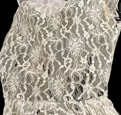 VINTAGE 1950s BLACK & IVORY LACE VOLUMINOUS NET PROM DRESS FORMAL WITH METAL ZIPPER