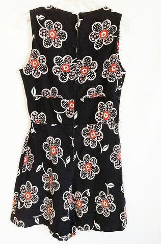 VINTAGE  '50s TOP FORM YOLANDE POP ART FLORAL BLACK ROMPER SKORT WITH METAL ZIPPER