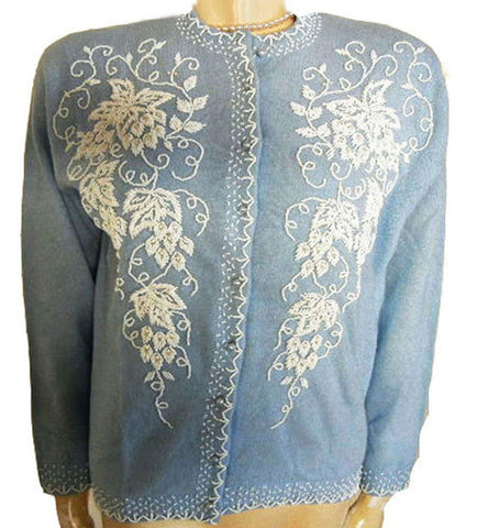 FROM MY OWN PERSONAL COLLECTION - VINTAGE  FULLY FASHIONED HAND DECORATED BEADED & PEARL LAMBSWOOL SWEATER MADE IN BRITISH HONG KONG  - NEW OLD STOCK