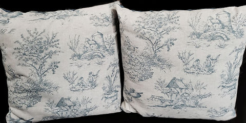VINTAGE LARGE BLUE TOILE FRENCH COUNTY SHABBY CHIC PILLOW COVERS - SET OF 2