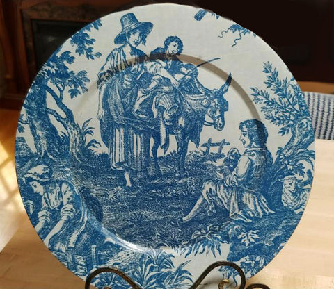"LARGE 15"" BLUE & WHITE TOILE FRENCH COUNTRYSIDE DECORATOR PLATE - PERFECT FOR ON AN ISLAND OR A PLANT SHELF WITH OTHER BLUE & WHITE ITEMS"