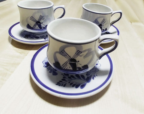 "VINTAGE  ""E H   HAND PAINTED IN DELFT BLUE COLORS"" DUTCH WINDMILL & FLORAL TEACUPS / COFFEE CUPS AND SAUCERS (3)"