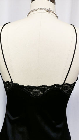 VINTAGE BLUSH BLACK SATINY ILLUSION LACE NIGHTGOWN