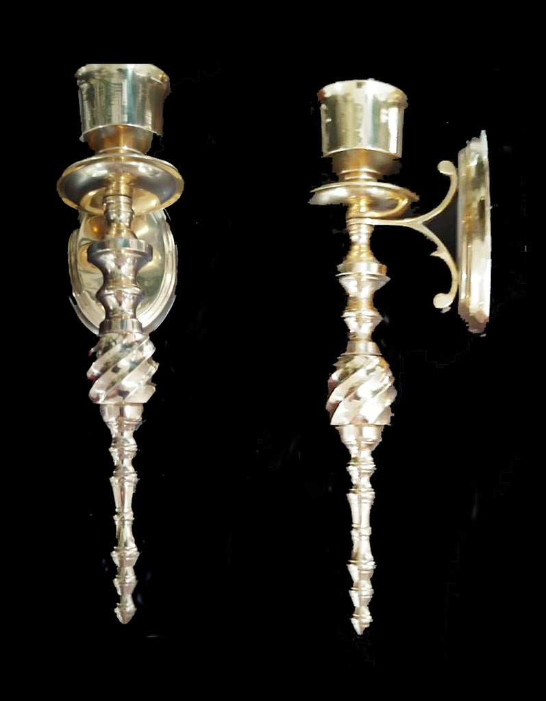 VINTAGE 1990s LACQUERED HEAVY POLISHED BRASS SWIRLED CANDLE WALL SCONCES - BEAUTIFUL!