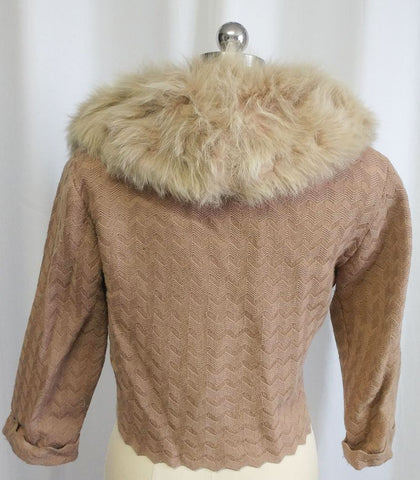 GORGEOUS NEW OLD STOCK VINTAGE EVENING SWEATER WITH AN EXTRA LARGE FLUFFY FOX COLLAR - JUST BEAUTIFUL