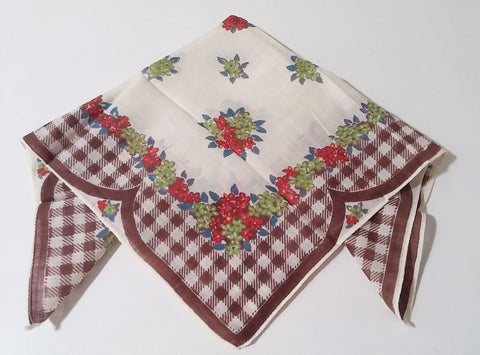 VINTAGE BROWN & WHITE CHECK FLORAL HANDKERCHIEF