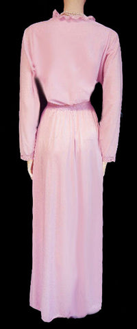 RARE VINTAGE OLGA BRUSHED NYLON FLANNEL-LIKE SPANDEX LACE NIGHTGOWN IN CANDY KISSES - SIZE LARGE
