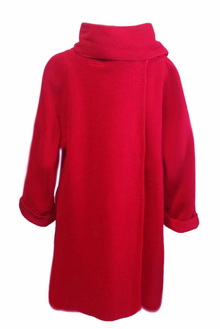 NEW - ADORABLE WRAP AROUND COAT WITH STANDUP COLLAR WITH A MATCHING HAT IN POPPY RED