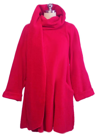 ADORABLE WRAP AROUND COAT WITH STANDUP COLLAR WITH A MATCHING HAT IN POPPY RED - NEW