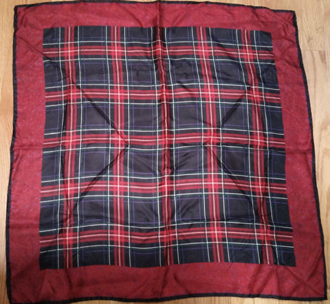 VINTAGE SCARLET PLAID SILK SCARF MADE IN ITALY