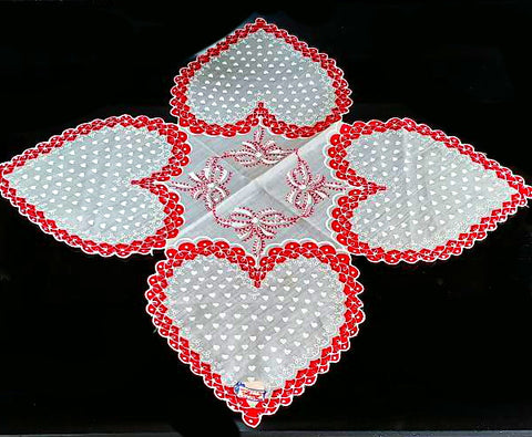 "VINTAGE  ""HANDKERCHIEF OF THE MONTH BY BURMEL AS SEEN IN VOGUE"" VALENTINE HEARTS HANDKERCHIEF - NEW OLD STOCK"