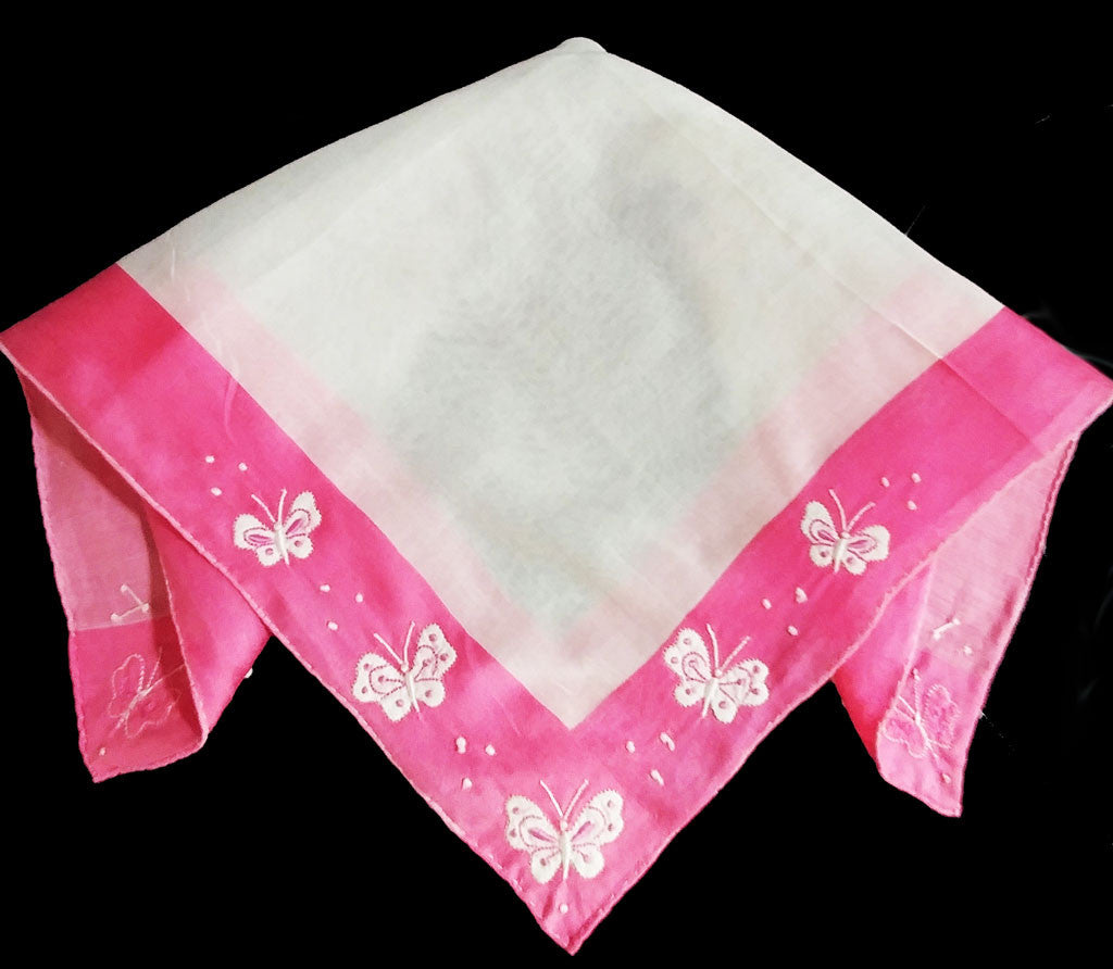 VINTAGE PINK BUTTERFLIES WITH LOVE KNOTS HANDKERCHIEF