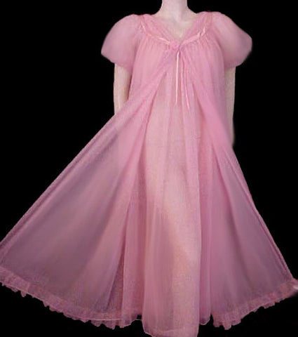 BEAUTIFUL VINTAGE JENELLE OF CALIFORNIA LUSCIOUS ROSE DOUBLE NYLON PEIGNOIR & NIGHTGOWN SET
