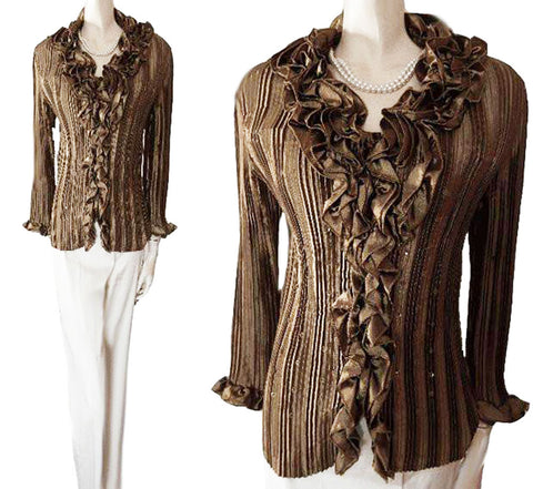 BEAUTIFUL ROMANTIC CRYSTAL PLEATED SEQUIN RUFFLE EVENING BLOUSE IN GOLDEN BRONZE - NEW - PERFECT FOR THE HOLIDAYS