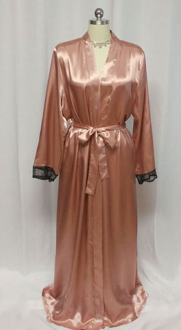 GLAMOROUS CALIFORNIA DYNASTY LIQUID COPPER SATIN PEIGNOIR DRESSING GOWN