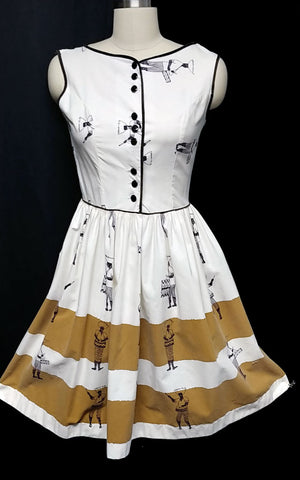 ADORABLE VINTAGE '60s CALYPSO MUSICIANS & DANCERS DRESS IN VANILLA & BROWN SUGAR BRUELE