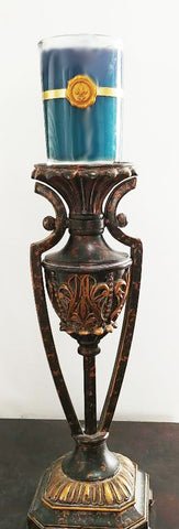 ORNATE GRECIAN LOOK HEAVY METAL CANDLE HOLDER