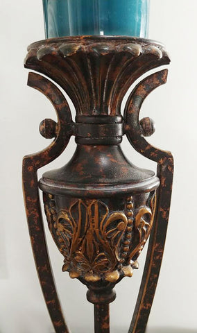 PAIR OF ORNATE GRECIAN LOOK HEAVY CANDLE HOLDER