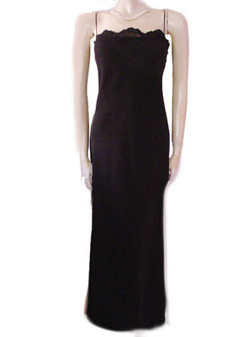 GORGEOUS CARMEN MARC VALVO LACE EVENING GOWN WITH LACE UP BACK