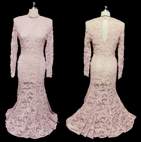 VINTAGE CASADEI SPANDEX MAUVE PINK INTRICATE LACE FISHTAIL EVENING GOWN / WEDDING GOWN