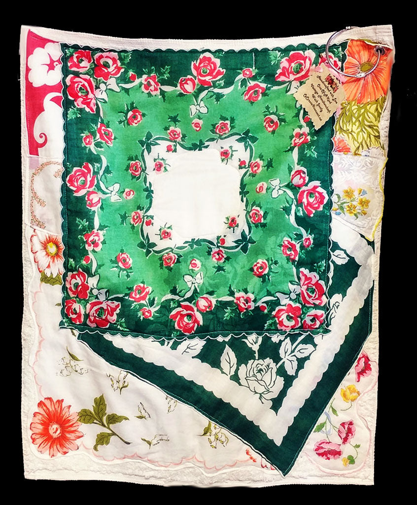 BEAUTIFUL CECE ROSE LAKE FOREST VINTAGE HANDKERCHIEFS HAND CRAFTED TOWEL - ONE OF A KIND - NEW OLD STOCK - WOULD MAKE A GREAT GIFT