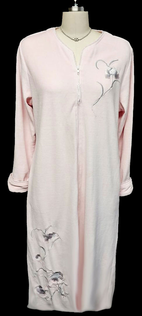 VINTAGE FLORAL EMBROIDERED CELESTE VELVETY ROBE DRESSING GOWN IN PINK