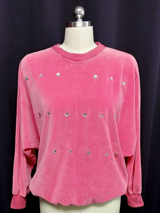 VINTAGE CHAUS HOT PINK PRONG-SET RHINESTONE STUDDED VELOUR TOP