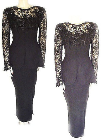 NEW - ELEGANT  VINTAGE CHIARISSE 2-PIECE CHANTILLY LACE CREPE SWEETHEART NECKLINE EVENING GOWN ADORNED WITH APPLIQUES, SEQUINS, HANGING BEADS - SIZE LARGE - NEW WITH TAG $590