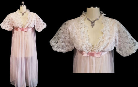 VINTAGE CHIC LINGERIE LACE & DOUBLE NYLON PINK PEIGNOIR HOLLYWOOD STYLE BACK