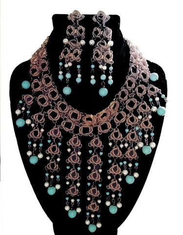 NEW WITH TAG -  STUNNING LARGE CLEOPATRA LOOK TURQUOISE BEAD & PEARL BIB NECKLACE AND EARRINGS SET - WOULD MAKE A WONDERFUL CHRISTMAS OR BIRTHDAY GIFT