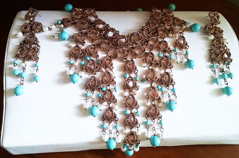 NEW WITH TAG -  STUNNING LARGE CHICO'S CLEOPATRA LOOK TURQUOISE BEAD & PEARL BIB NECKLACE AND EARRINGS SET - WOULD MAKE A WONDERFUL CHRISTMAS OR BIRTHDAY GIFT