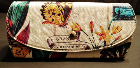 NEW - EXTRA LARGE BOTANICAL SUNGLASSES / GLASSES CASE WITH BUTTERFLIES & FRENCH WORDING