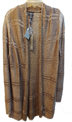 NEW WITH TAGS - CHICO'S SEQUIN SWEATER CARDIGAN JACKET IN GOLD SHIMMER FROM THE TRAVELERS COLLECTION
