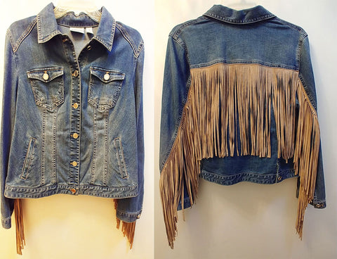 "NEW W/O TAGS - CHICO'S PLATINUM COLLECTION DENIM SUEDE JACKET WITH FABULOUS 12"" FRINGE - WOULD MAKE A WONDERFUL CHRISTMAS OR BIRTHDAY GIFT"