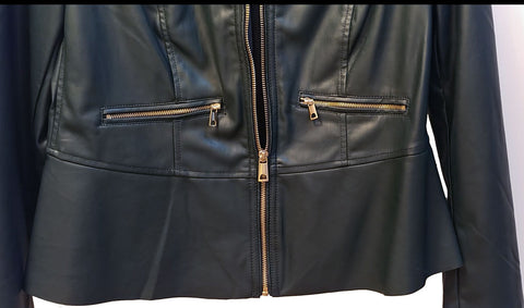 NEW WITH TAG - CHICO'S CHIC FAUX LEATHER JACKET IN DARK FOREST GREEN ACCENTED WITH SPARKLING LARGE GOLD ZIPPERS - WOULD MAKE A WONDERFUL CHRISTMAS OR BIRTHDAY GIFT