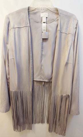 "NEW WITH TAG - CHICO'S FAUX SUEDE JACKET WITH FABULOUS 20"" FRINGE IN A SILVERY DOVE GRAY - WOULD MAKE A WONDERFUL CHRISTMAS OR BIRTHDAY GIFT"