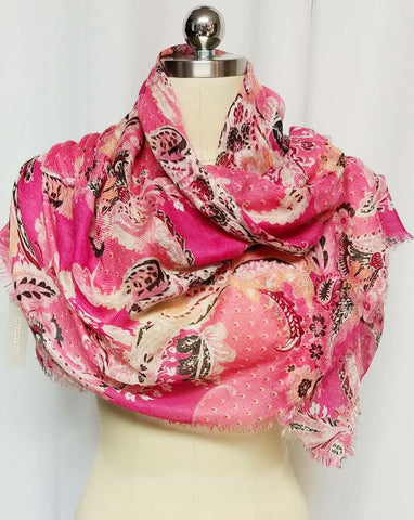 NEW - LUXURIOUS LARGE FLORAL & LEAF HOT PINK COMBO FRINGE SCARF - NEW WITH TAG