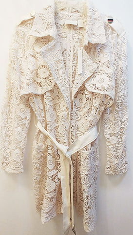 NEW WITH TAG - CHICO'S $199 COLLECTIBLES LIMITED EDITION LACE LIMITED TRENCH JACKET / COAT IN PEARLIZED IVORY - ABSOLUTELY STUNNING! - WOULD MAKE A WONDERFUL CHRISTMAS OR BIRTHDAY GIFT