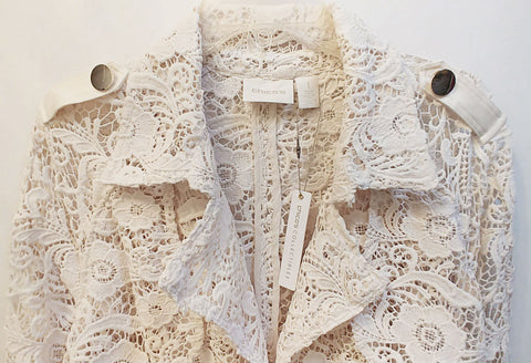 NEW WITH TAG - CHICO'S $199 COLLECTIBLES LIMITED EDITION LACE TRENCH JACKET / COAT IN PEARLIZED IVORY - ABSOLUTELY STUNNING! - WOULD MAKE A WONDERFUL CHRISTMAS OR BIRTHDAY GIFT