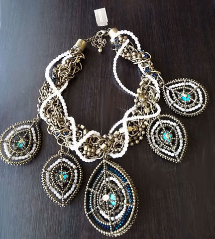 NEW OLD STOCK WITH TAG -  CHICOS RETIRED STUNNING LARGE FAUX TURQUOISE, SPARKLING BEADS & FAUX PEARL COLLECTIBLE NECKLACE & EARRING SET